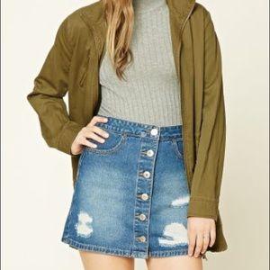 Jean Buttoned High-Waisted Skirt